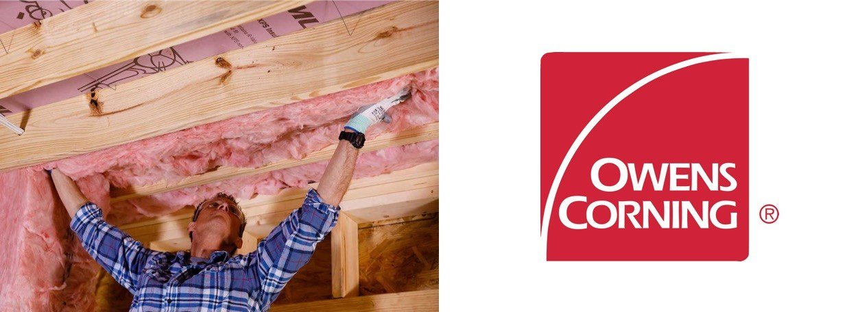 Owens Corning logo with a man installing insulation