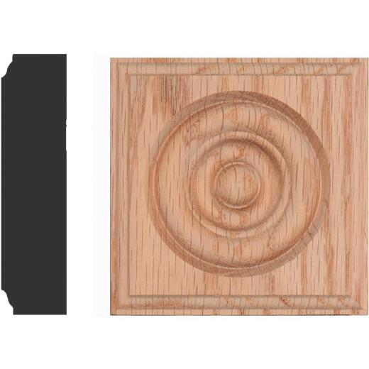 House of Fara 7/8 In. x 3-1/2 In. Unfinished Red Oak Rosette Block