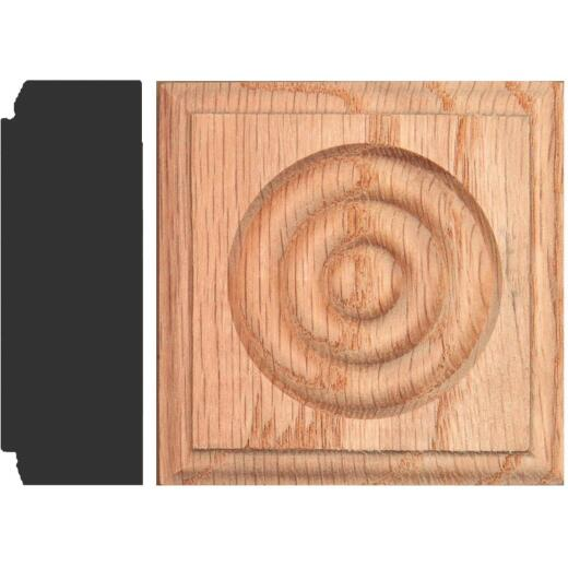 House of Fara 7/8 In. x 2-1/2 In. Unfinished Oak Rosette Block