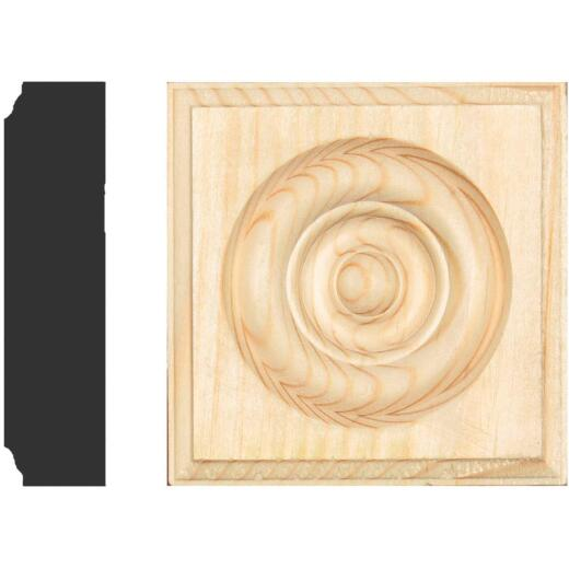 House of Fara 7/8 In. x 3-1/2 In. Unfinished Pine Rosette