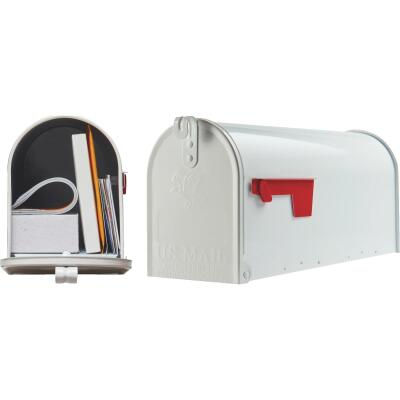 Gibraltar Elite T1 White Steel Rural Post Mount Mailbox