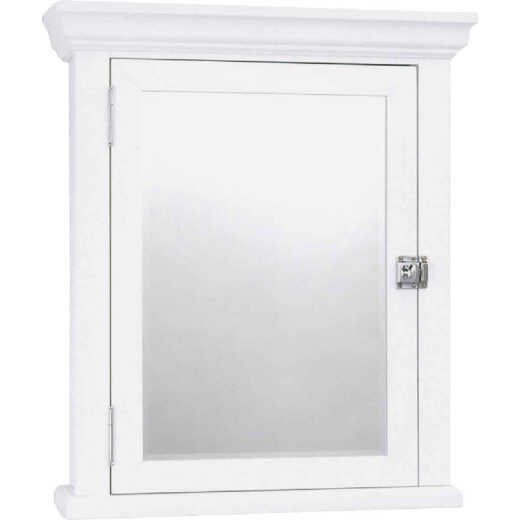 Zenith American White 22.25 In. W x 27.25 In. H x 5.75 In. D Single Mirror Surface Mount Crown Pediment Medicine Cabinet