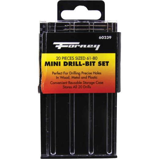 Forney 20-Piece Mini Drill Bit Set, 61 thru 80