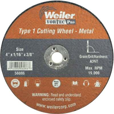 Weiler Vortec Type 1 4 In. x 1/16 In. x 3/8 In. Metal/Plastic Cut-Off Wheel