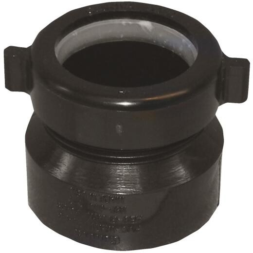 Charlotte Pipe 1-1/2 In. x 1-1/2 In. HUB x Tubular Black ABS Waste Adapter