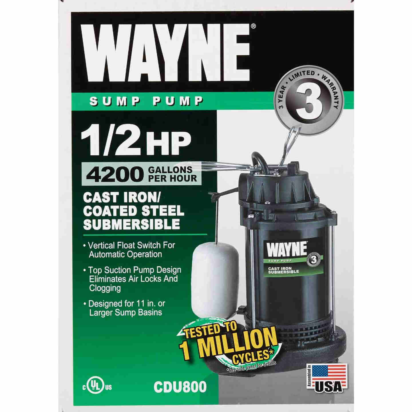 Wayne Water System 1/2 HP 115V Cast-Iron Submersible Sump Pump Image 2