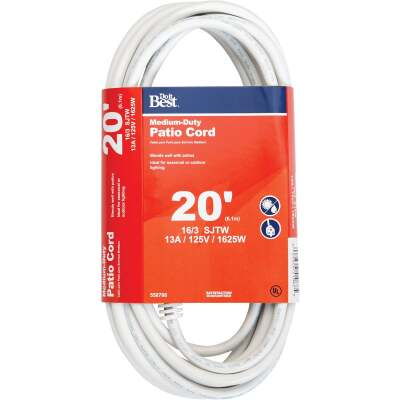 Do it Best 20 Ft. 16/3 Medium-Duty White Patio Extension Cord