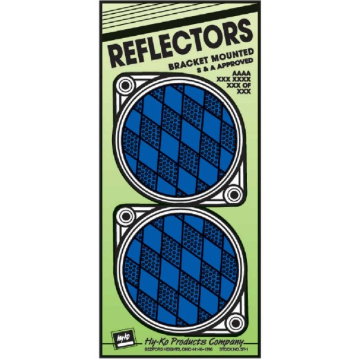 Hy-Ko 3-1/4 In. Dia. Round Blue Bracketed Nail-On Reflector (2-Pack)