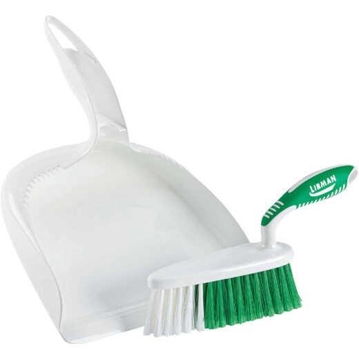 Libman White Plastic Dust Pan & Brush Set