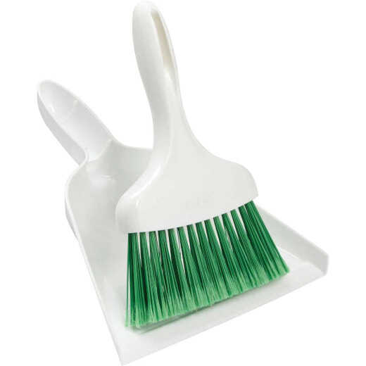 Libman 7 In. Poly Whisk Broom with Dust Pan, Green Bristles