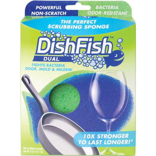 DishFish Dual Dish Scrubber & Sponge (1-Pack)