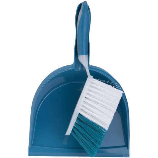 Blue Plastic Dust Pan & Brush Set