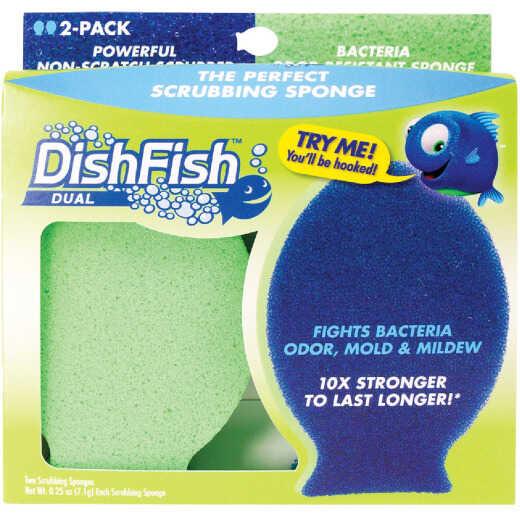 DishFish Dual Dish Scrubber & Sponge (2-Pack)