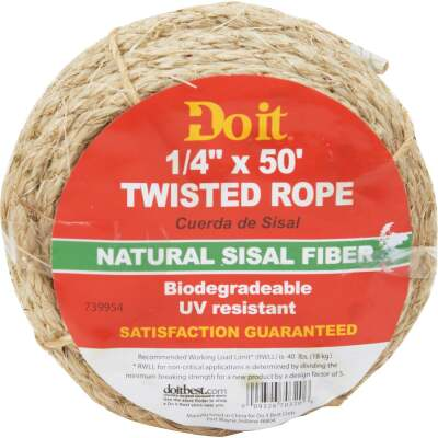 Do it 1/4 In. x 50 Ft. Natural Twisted Sisal Fiber Packaged Rope